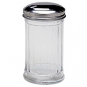 Sugar Jar/Pourer, 12 oz with Ribbed Glass and Flap Top