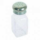 Salt & Pepper Shaker, Square with Stainless Steel Top, 2 oz