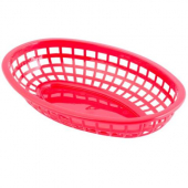Tablecraft - Basket, Red Oval Plastic, 9.375x6x1.875
