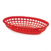 Tablecraft - Basket, Oval, Red Plastic, 7.75x5.5x1.875