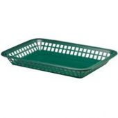 Tablecraft - Basket, Rectangular Platter Style, Forest Green Plastic, 11.75x8.5x1.5