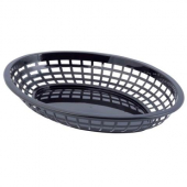 Tablecraft - Basket, Black Jumbo Oval Plastic, 11.75x8.875x1.875