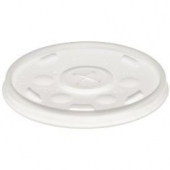 Dart - Lid, Straw Slot (Sorbet Lid) for 10 oz Foam Cups, Translucent Plastic