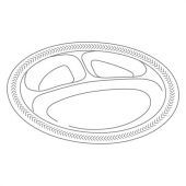 "Genpak - Plate, 10.25"" 3 Compartment Foam Plate, White"