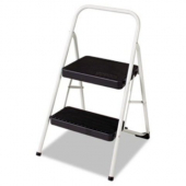 Step Stool, 2-Step Folding Steel Cool Gray, 17.375x18x28.125