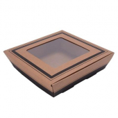 Catering Tray with Window Lid, 15x15x3.75 Corrugated Kraft