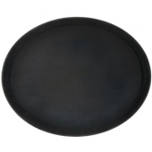 Winco - Serving Tray, 27x22 Oval Black Easy-Hold Rubber-Lined