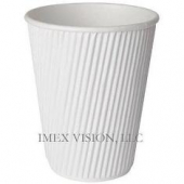 Hot Paper Cup, White Ripple V-Shape, 12 oz