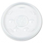 Dart - Lid, Straw Slot (Sorbet Lid) for 12 oz Foam Cups, Translucent Plastic