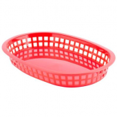 Tablecraft - Basket, Red Oval Plastic, 10.5x7x1.5