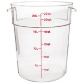 Cambro - Camwear Rounds Food Storage Container, 22 Quart Round Clear PC Plastic