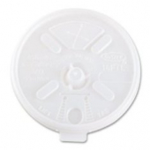 Dart - Lid, Lift Tab/Straw Slot for 16 oz Foam Cups, White Plastic