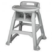 Winco - High Chair with Tray, 25.5x23x29.5 Gray Plastic