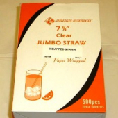 "Wrapped Straw, 7.75"" Jumbo Clear"