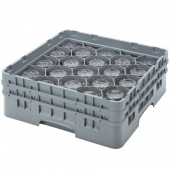 "Cambro - Camrack Glass Rack with 20 Compartments, Fits 3.625"" Tall Glass, Soft Gray Plastic"
