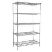 Nexel - Starter Shelving Unit, 48x24x74 Wire with 5 Shelves, 4 Posts and Plastic Clips, Electro-Plat