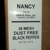 Nancy Brand - Black Pepper, Ground, 28 Mesh Dust Free, 25 Lb