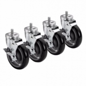 "Krowne Metal - Casters, 1"" 13 Threaded Stem Caster, 5"" Wheel with Brake, 4 count"