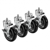 "Krowne Metal - Casters, 5/8"" 11 Threaded Stem Caster, 5"" Wheel with Brake, 4 count"