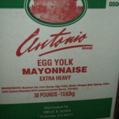 Antonio Brand - Extra Heavy (Egg Yolk) Mayonnaise, 30 Lb White Box