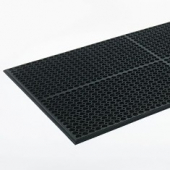 Floor Mat, Heavy-Duty Antifatigue Black Rubber, 3'x5'
