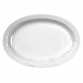 Winco - Platter with Narrow Rim, 13.25x9.875 Oval Melamine White