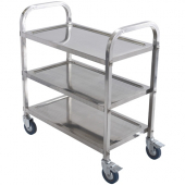 Winco - Trolley, 3-Tier Stainless Steel, 30x16x27