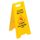 Winco - Caution Wet Floor Sign, 25x12 Fold Out, English/Spanish