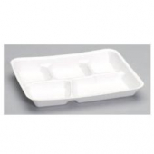 Tray, 5 Compartment Foam Serving Tray, 10x8x1 White