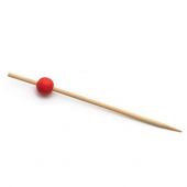 "Bamboo Pick, 4.75"" with Red Bead"
