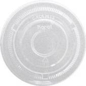 Karat - Flat Lid with no Hole, Fits 12-24 oz Cups, Clear PET Plastic
