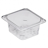 "Cambro - Camwear Colander Pan, 1/6 Size 3"" Deep Clear Plastic"