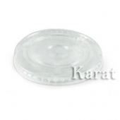 Karat - Flat Lid without Hole, Clear PET Plastic, Fits 9-12 oz Cups