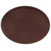 Winco - Serving Tray, 27x22 Oval Brown Easy-Hold Rubber-Lined