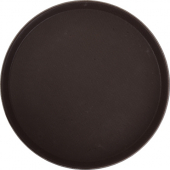 "Winco - Serving Tray, 14"" Round Brown Easy-Hold Rubber-Lined"