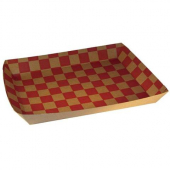 Lunch Food Tray, 10.5x7.5x1.5 Kraft Red Checked