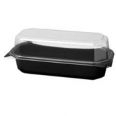 Solo - Carryout Container, Rectangular Hinged Black Plastic with Clear Lid, 8.75x5