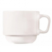 World Tableware - Porcelana Maui Cup, 7 oz Bright White Porcelain, Stackable