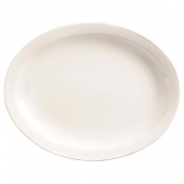 World Tableware - Porcelana Narrow Rim Platter, 9.75x7.375 Oval Bright White Porcelain
