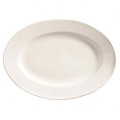 World Tableware - Porcelana Wide Rim Platter, 9.75x7.25 Oval Bright White Porcelain