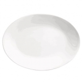World Tableware - Porcelana Rolled Edge Coupe Platter, 15.25x11.25 Oval Bright White Porcelain