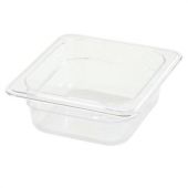 "Winco - Food Pan, 1/6 Size Clear PC Plastic, 2.5"" Deep"