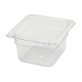 "Winco - Food Pan, 1/6 Size Clear PC Plastic, 3.5"" Deep"