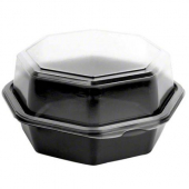"Solo - Carryout Container, 6"" Octagonal Hinged Black Plastic with Clear Lid"
