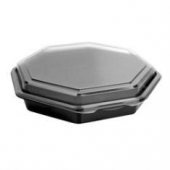 "Carryout Food Container, 9"" Octagonal Plastic, Black Base with Hinged Clear Lid"