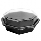"Carryout Food Container, 7.5"" Octagonal Plastic, Black Base with Hinged Clear Lid"