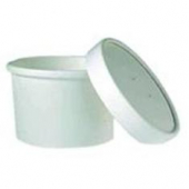 Food Container/Lid Combo, 8 oz, White Paper