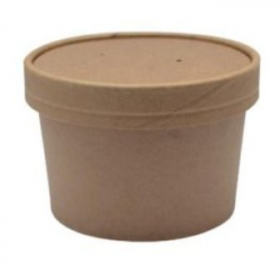 Food Container/Lid Combo, 8 oz, Kraft Paper