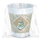 Dart - Foam Cup, Café Gourmet Design Print with Plastic Wrap, 8 oz