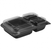 Dart - Creative Carryouts BoxLine Container, Medium 3-Compartment Black Base with Hinged Clear Plast